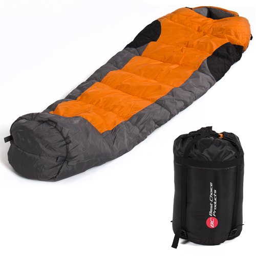 Best-Choice-Products-Mummy-Sleeping-Bag-with-Carrying-Case-OrangeGreyBlack
