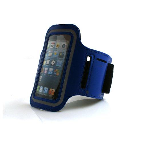 System-S Sport Armband Tasche Schutz Hülle Etui Case für Jogging Fitnessstudio in Blau für Apple iPhone 5