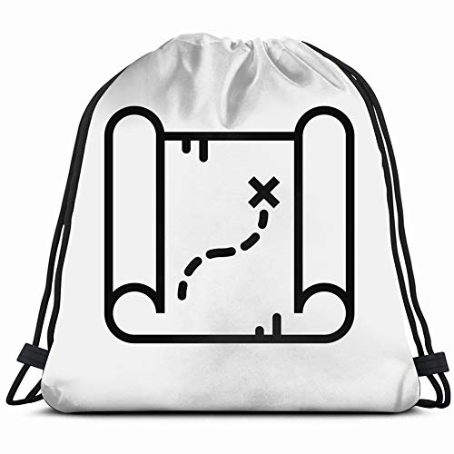 map treasure concept line icon simple nature adventure parks outdoor Lightweight Drawstring Bag Sport Gym Sack Bag Backpack 17X14 Inch ()