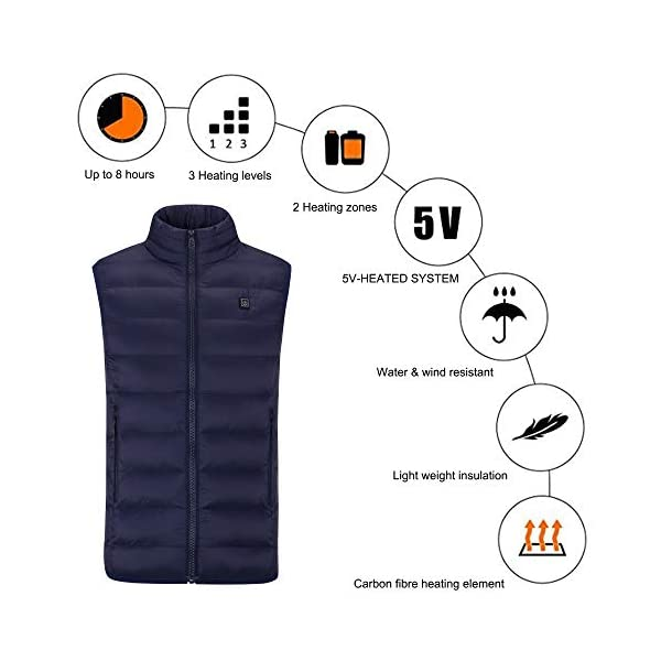 Sidiou Group Unisexe Chauffé Gilet Veste Thermique Gilet Chauffant USB Charge Chauffant Veste Vêtements Chauffant…