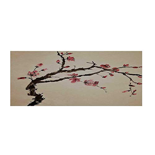 TecBillion Japanese Beautiful Floor Sticker,Traditional Chinese Paint of Figural Tree with Details Brushstroke Effects Print for Indoor Floor,35.4
