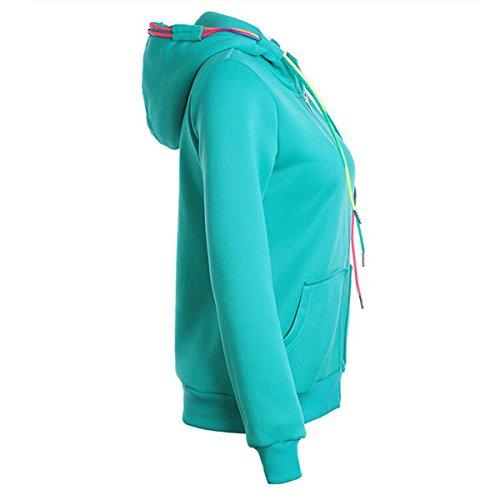 Cappotto con Felpa Donna Con e Maglione Casual Cappuccio Pullover Giacca Cappuccio Zip Cerniera Unita Color2 Felpa Zip Invernali Tinta ax4rwqa7A0