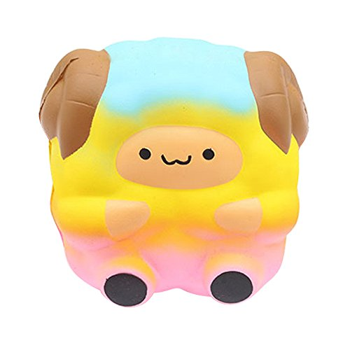 Islandse❤ Jumbo Sheep Squishy Cute Galaxy Rainbow Alpaca Slow Rising Scented Toy Gift (Yellow) ()