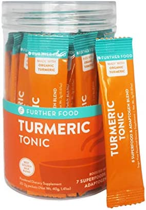 Further Food On-The-Go Turmeric Golden Milk Stick Packs Boosted with 7 Superfoods 20 Stick Packs