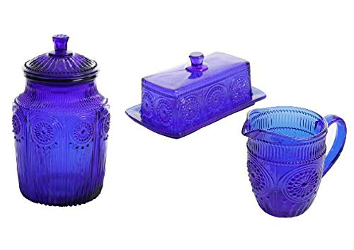 The Pioneer Woman Adeline Cobalt Embossed Glass Canister bundle with The Pioneer Woman 3-Piece Cobalt Embossed Butter Dish & Creamer Set ()