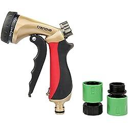 Spray Nozzle   Crenova HN-05 Garden Hose Nozzle Sprayer Gun - 7 Spraying Modes - Easy Flow Control Knob - Metal Nozzle High Pressure for Car Washing / Plant Watering / Sidewalk Cleaning / Pet Bathing