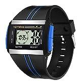 yanbirdfx Men Rectangle Luminous Backlight Sports Stopwatch Date Alarm Digital Wrist Watch - Blue