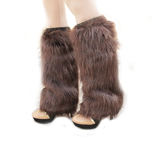 Leg Warmers Acrylic (Nanxson(TM) Women's Knit Acrylic Long Leg Warmer with Fur TTW0034 (coffee))