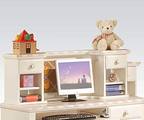 Acme Furniture 11044 Zoe White Desk Hutch with Pink Striped Details