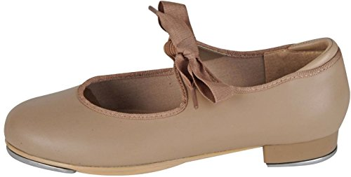 DanceNwear Value Comfort Tap with Elastic and Grosgrain Ribbon Ties and Star Tone Toe and Heel Taps (13YOUTH, Caramel) ()