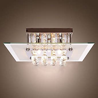 Dst Modern Clear Crystal and Glass Flushmount Ceiling Light
