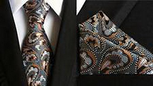 Jacob AleX #47171 Costume Paisley Gray Men's JACQUARD WOVEN Necktie Pocket Square Hankerchief (Voodoo Queen Costume)
