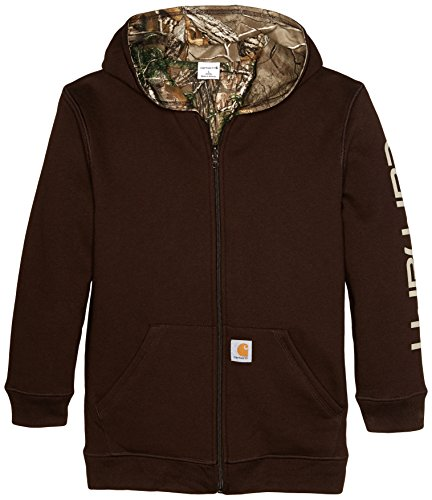 Carhartt Big Boys' Reversible Fleece Zip Sweatshirt, Mustang Brown, Medium