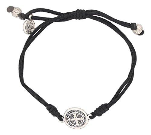 Serenity Blessing Bracelet, Adjustable (Silver Plated Medal on (Black Cord Bracelet)