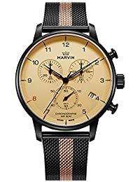 Swiss Made Men Watch Quart 42.6mm Two-Tone Stainless Steel Bracelet White Dail with 6 Hands (M035.23.93.25)