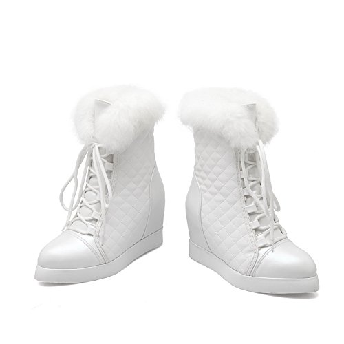 Womens White Platform 1TO9 Leather Heighten Boots Imitated Bandage Inside dvwW4qOv