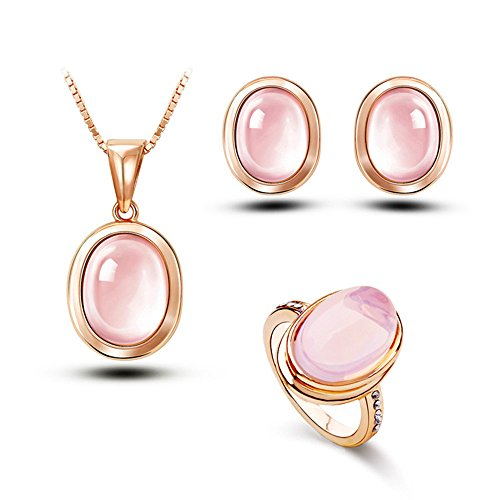 Pink Gold Fashion Ring - Gold Plated Pink Crystal Oval Jewelry Set,Rose Gold Pendant Necklace Statement Ring Stud Earrings-JGG029