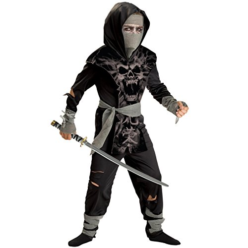 [Totally Ghoul Dark Zombie Ninja Costume, Size Extra Large, Ages 6+] (Ninja Zombie Costumes)