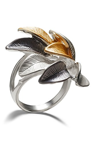 Nothing but Love Jewelry Leaf Ring Leaves On Wide Band Glossy Floral Cocktail Rings Women Fashion Jewelry (Alloy,Steel/Beige/Gray, 17)