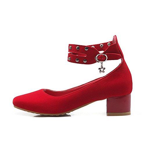AllhqFashion Mujer Esmerilado Puntera Cuadrada Puntera Cerrada Mini Tacón Hebilla Sólido De salón Rojo