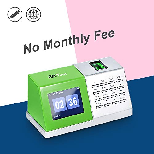 ZKTeco CT20 Fingerprint Time Attendance Machine Biometric Time Clock for Employee Small Business Time-Tracking Recorder Without Installation
