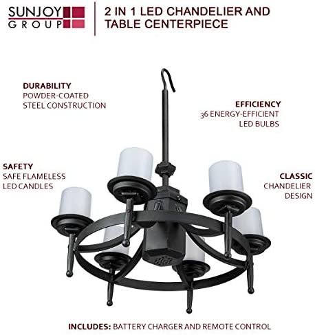 Sunjoy Chatham Gazebo Led Outdoor Chandelier W Remote Control Garden Outdoor