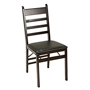 Cosco Wood Folding Chair with vinyl seat & Ladder Back, 2 pack, Espresso