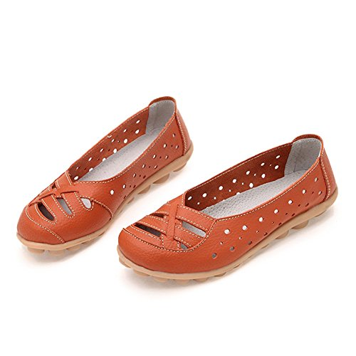 DEARWEN Womens Hollow Out Casual Leather Wedding Flat Loafers Shoes Orange jCnnQXyjKZ