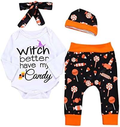 GoodLock Baby Boys Girls Halloween Clothes Set Infant Letter Print Romper Headbands Pants Cap Outfits 4Pcs