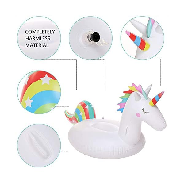YAze Inflatable Unicorn Pool Float Animal Balloon Pool Tube Fun Beach Floaties Summer Pool Raft Lounge Swim Party Sports… 5