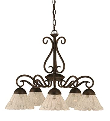 Toltec Lighting 47-BRZ-7195 Olde Iron Five-Light Down light Chandelier Bronze Finish with Italian Ice Glass, 7-Inch
