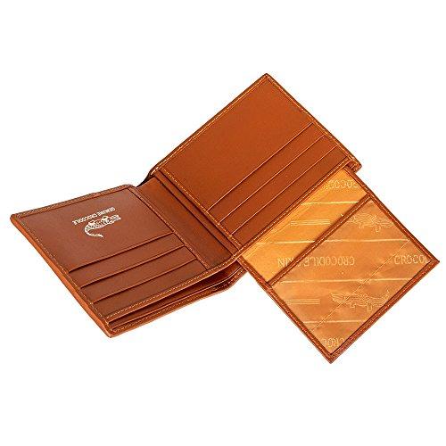 Carpeta En Dorado Bronceado De Identificación Cuero De Ktm Genuina Marrón De Cocodrilo La Sección La w15PqC