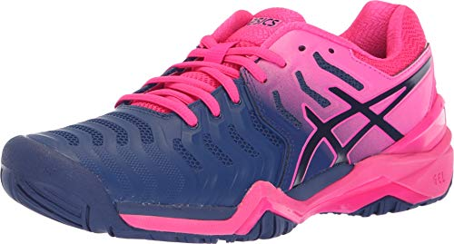 ASICS Womens Gel-Resolution 7 Tennis Shoe, Blue Print/Blue Print, Size 8 (Best Shoes To Wear To Play Tennis)