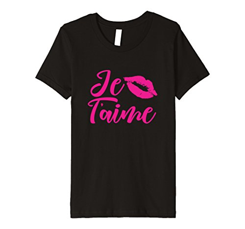 Kids Hot Pink Lips Shirt Je T'aime tshirt Love Valentines Gifts 6 - Kissing Black French Girls