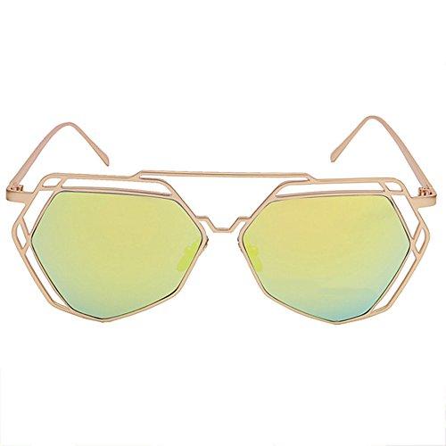 LVZAIXI de Negro Viaje Sunglasses Gafas Amarillo Metal Color de Polígono Marco de Aviador Moda Verano de Fuera de Conducción Sol Ahueca hacia Retro vwqpgwd