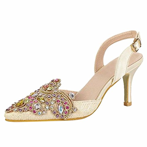 Summer Women Pointy Toe Rhinestone Ankle Strap Low Heel Stilettos Sandals Shoes Apricot CzjdLBC