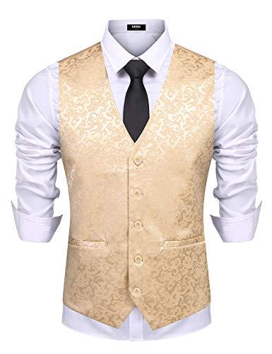 URRU Men's Classic Paisley Floral Single Breasted V-Neck Suit Tuxedo Vest Wedding Waistcoat
