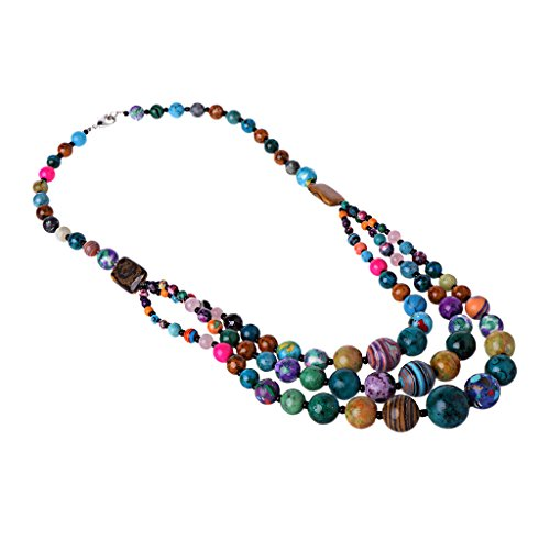 Bead Triple Strand Necklace - Hukai Vintage Colorful 3 Strands Stone Bead Necklace Collar Triple Layers Jewelry