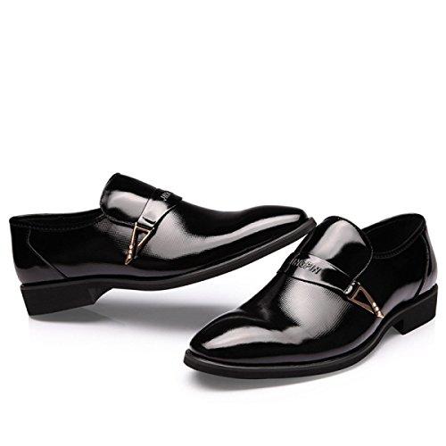 GRRONG Zapatos De Cuero De Los Hombres De Cuero Genuino Acentuadas Negro Vestimenta Formal Black