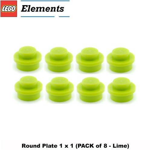 Lego Parts: Round Plate 1 x 1 (PACK of 8 - Lime)