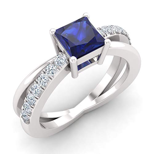 Diamondere Natural and Certified Blue Sapphire and Diamond Engagement Ring in 14K White Gold | 0.77 Carat Blue Sapphire And Diamond Accent Ring for Women, US Size 4.5 - Diamond Ring Accent Blue