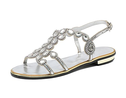 Shoes Heels Silver Sandals Drip Rhinestones Women's Casual Low Honeystore a10qgwv