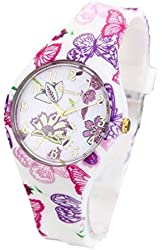 Butterfly Floral Fashion Women's Watch Thin with Silicone band