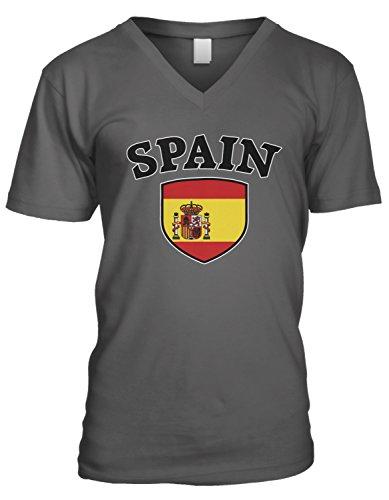 (Amdesco Men's Spain Flag Shield, Espana Spanish Pride V-Neck T-Shirt, Charcoal Grey Small)