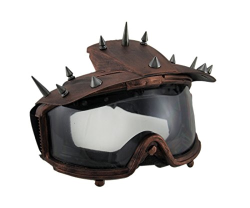 Plastic Mens Costume Masks Spiked Metallic Steampunk Padded Motorcycle Goggles Adult Costume Mask - 8 X 6 X 5 Inches - Copper - Style # M39305Z - Apocalyptic Costumes
