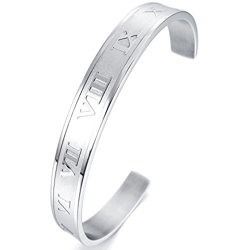 (MENDINO Mens Womens Stainless Steel Bracelet Bangle Cuff Silver Roman Numeral )