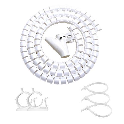 White PC Cable Sleeve Management, VIWIEU Desk Cord Organizer Zipper Wrap Tubes 1PCS, 59