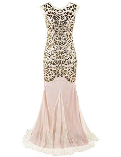 Kayamiya Women's 1920s Beaded Sequined Long Prom Cap Sleeve Evening Flapper Dress 1X Gold Beige