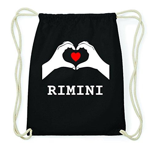 JOllify RIMINI Hipster Turnbeutel Tasche Rucksack aus Baumwolle - Farbe: schwarz Design: Hände Herz LoqakOx