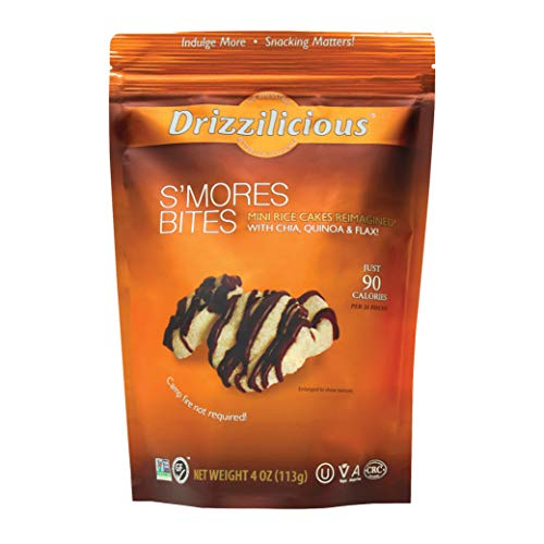 Drizzilicious S'mores 4oz Single Pack | Mini Snack Chocolate Rice Cakes | Vegan Air Popped Chia, Quinoa, Flax Smore Snacks